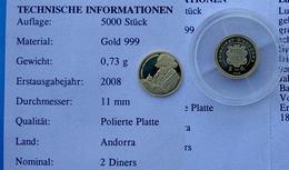 ANDORRA 2 D 2008 GOLD 999 ORO PROOF LUDWIC VAN BEETHOVEN MUSICIAN PESO 0,73g TITOLO 0,999 CONSERVAZIONE FONDO SPECCHIO+G - Andorre