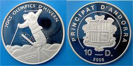 ANDORRA 10 D 2005 ARGENTO PROOF SILBER  OLYMPICS WINTER PLAY FREESTYLE SKIER PESO 28,8g TITOLO 0,925 CONSERVAZIONE FONDO - Andorra
