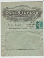 """PARIS : """" MANUFACTURE DE LIMES PINCES & OUTILS  P. Duflos / LSC De 1917 TB - Marcophilie (Lettres)"""