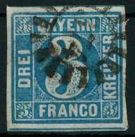 BAYERN QUADRATE Nr 2II GMR 374 Gestempelt X8822A6 - Bavière