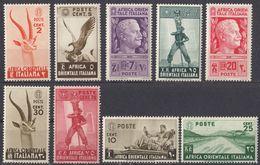 AFRICA ORIENTALE ITALIANA -  1938 - Lotto Di Nove Valori Nuovi MNH: Yvert 1/8 E 11, Come Da Immagine. - Italienisch Ost-Afrika