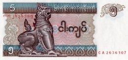 MYANMAR=N/D   5  KYATS     P-70c   UNC - Myanmar