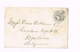 Entier Postal  à 2 Pence.Expédié De London à Malines (Belgique) - Entiers Postaux