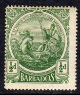 BARBADOS - 1916 COLONY BADGE HALFPENNY STAMP MINT MM * SG 182 - Barbados (...-1966)