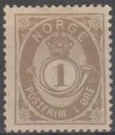 NORWAY - 1893 1o Gray Post Horn. Scott 36. Mint * - Norvège