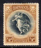 BARBADOS - 1920 VICTORY ONE FARTHING BLACK & BISTRE-BROWN STAMP MINT MM * REF B SG 201 - Barbados (...-1966)