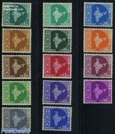 India 1957 Definitives 14v, (Unused (hinged)), Various - Maps - 1950-59 Republic