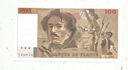 Billet , France , 100 ,  Cent Francs, Delacroix ,1993 , 2 Scans, Frais Fr 1.75 E - 100 F 1978-1995 ''Delacroix''