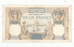 Billet , France , 1000 ,  Mille Francs, Cérès Et Mercure , 3 Novembre 1938,  2 Scans, Frais Fr 1.95 E - 1871-1952 Circulated During XXth