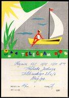 POLAND 1959 TELEGRAM WOMAN ON SAILING BOAT POLISH LAKES HOLIDAYS USED TÉLÉGRAMME TELEGRAMM TELEGRAMA TELEGRAMMA RAILWAYS - Faire-part