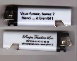 """Briquet Publicitaire Décapsuleur """"Vous Fumez, Buvez ? Merci...à Bientôt !"""" Pompe Funèbre Loïc _Di190 - Briquets"""