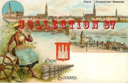☺♥♥ PUBLICITE CACAO CHOCOLAT SUCHARD - HAMBURG DOCKS - PORT De HAMBOURG - CARTE PUBLICITAIRE LITHOGRAPHIEE RARE - Publicidad