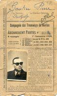 Carte D'abonnement De La Compagnie Des Tramways De Nantes - 1954 - De Mr Pierre Gautier - Transports