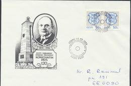 56-870 Estonia President Päts 120 Years From Birth Pärnu  23.02.1994  Letter From Post Arrival Postmark - Estonia