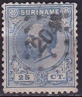 SURINAME 1873 Koning Willem III 25 Cent Ultramarijn Kamtanding 12½ X 12  NVPH 10 A C - Suriname ... - 1975