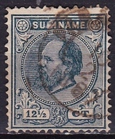 SURINAME 1873 Koning Willem III 12½ Cent Groenblauw Tanding 13½ X 13¼ NVPH 7 E - Suriname ... - 1975