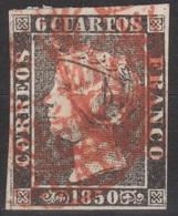 ISABEL II 1850. 6 CUARTOS TRIPLE FECHADOR BAEZA VIZCAYA. RARO - 1850-68 Royaume: Isabelle II