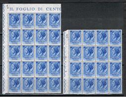 REP. VARIETA':  1955  TURRITA  STELLE  I°  -  £. 60  AZZURRO  N. -  RIPETUTO  36  VOLTE  -  C.E.I. 760 - 6. 1946-.. Repubblica