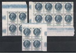 REP. VARIETA':  1955  TURRITA  STELLE  I°  -  £. 200  AZZURRO  N. -  RIPETUTO  16  VOLTE  -  C.E.I. 888 - 6. 1946-.. Repubblica