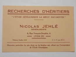 Buvard : Recherches D'Héritiers, NICOLAS JEHLE, Généalogiste, LYON - Buvards, Protège-cahiers Illustrés