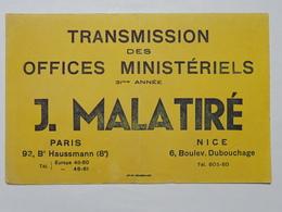 Buvard : Transmission Des Offices Ministériels : J. MALATIRE, Paris, Nice - Buvards, Protège-cahiers Illustrés