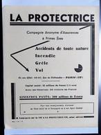 Grand Buvard : LA PROTECTRICE, Compagnie D'Assurances à Primes Fixes, Paris - Bank & Insurance