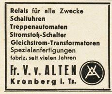 Original-Werbung/ Anzeige 1938 - RELAIS / VON ALTEN - KRONBERG - Ca. 45 X 40 Mm - Advertising