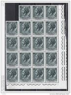 REPUBBLICA  VARIETA':  1961/66  TURRITA  ST. IV° ORIZZ. -  £. 5  ARDESIA  BL.19  N. -  C.E.I. 748-I - 6. 1946-.. Repubblica