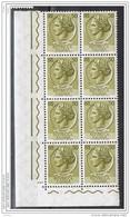 REPUBBLICA  VARIETA':  1961/66  TURRITA  ST. IV°  ORIZZ. -  £. 50  OLIVA-GIALLO  BL. 8  N. -  C.E.I. 759-I - 6. 1946-.. Repubblica