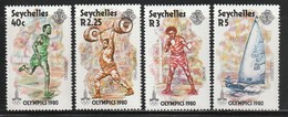 SEYCHELLES - N°446/9 ** (1980)  J.O MOSCOU - Seychelles (1976-...)