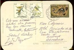 Postcard, San Marino, Views, Used 1972, Bird Stamps, Zodiac - Scorpion Stamp - San Marino