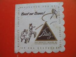 Paper Napkin.Baseball.Blatz Brewing Co.THE BRAVES BOOSTER SONG.Milwaukee - Company Logo Napkins