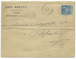 ENVELOPPE SAGE 15c  / RIGNAC MONTBAZENS AVEYRON POUR VILLEFRANCHE 1887 / AVEC CORRESPONDANCE / BOITE MOBILE BM - Marcofilia (sobres)