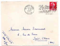 COURSE AUTOMOBILE = 72 LE MANS GARE 1957 = FLAMME Sur DEVANT D' ENVELOPPE = SECAP Illustrée ' 24 HEURES  ' - Postmark Collection (Covers)