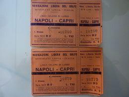 """Lotto 2 Biglietti """"NAVIGAZIONE LIBERA DEL GOLFO MOTONAVI LINDA - ITALIA Napoli / Capri"""" - Billets D'embarquement De Bateau"""