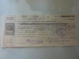 """Cambiale """"BANCA NAZIONALE DELL'AGRICOLTURA"""" 1956 - Cambiali"""