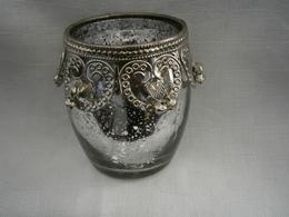 Vase Orientale En Verre Et Métal H 10 Cl Diamètre 7 Cm - Verre & Cristal