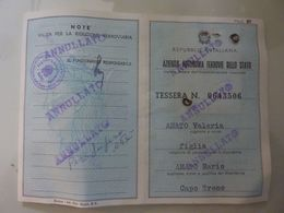 """Tessera """"AZIENDA AUTONOMA FERROVIE DELLO STATO - RIDUZIONE"""" 1971 - Abbonamenti"""