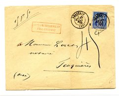 France - N°90 Sur Lettre De , Taxée Beauvais + Griffe AFFRANCHISSEMENT INSUFFISANT (rouge) - (B2025) - Marcophilie (Lettres)