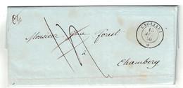 1850 - LETTRE COVER AVEC OBLITERATION CAGLIARI (CACHET SARDE?) SARDAIGNE Pour CHAMBERY SAVOIE - Sardaigne