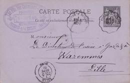 FRANCE 1885   ENTIER POSTAL/GANZSACHE/POSTAL STATIONERY CARTE DE FRESNES S/L'ESCAUT CACHET CONVOYEUR - Entiers Postaux