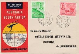 AUSTRALIA 1952 QANTAS FLIGHT COVER MAURITIUS Via JOHANNESBURG - Briefe U. Dokumente