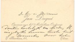 Visitekaartje - Carte Visite - Opziener Onderwijs Jan Duqué - Elsene - Cartes De Visite