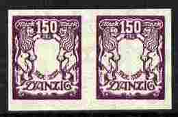 Danzig 1922 Coat Of Arms 150m Imperf Horiz Proof Pair With Red Omitted Unmounted Mint Minor Wrinkles As SG 101 - Non Classés
