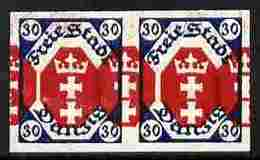 Danzig 1921 Coat Of Arms 30m Imperf Horiz Proof Pair With Red Printing Doubled Unmounted Mint Minor Wrinkles As SG 69 - Poland