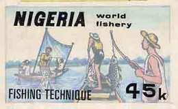 Nigeria 1983 World Fisheries - Original Hand-painted Artwork For 45k Value (Fishing Technique) By Godrick N Os... - Nigeria (1961-...)