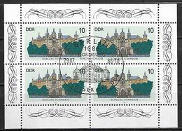 ALLEMAGNE  /  DDR    -     1986  .  Y&T N° 2653 Oblitérés En Feuille De 4.   Chateau De Schwerin - Usados
