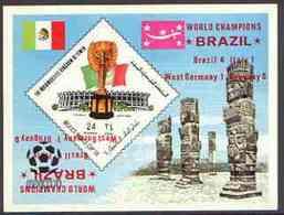Yemen - Royalist 1970 World Cup Football 24b Value (diamond Shaped) Imperf M/sheet Unmounted Mint Opt'd 'Brazi... - Yémen