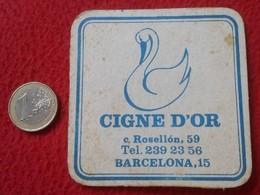 SPAIN ANTIGUO POSAVASOS OLD COASTER MAT CIGNE D'OR CISNE DE ORO ROSELLON 59 BARCELONA CATALUNYA CATALUÑA BAR ? PUB ? VER - Portavasos