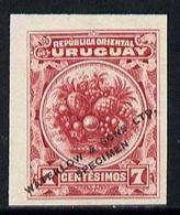 Uruguay 1900 Pineapple 7c Printer's Sample In Red (issued Stamp Was Orange-brown) Overprinted Waterlow & Sons ... - Uruguay